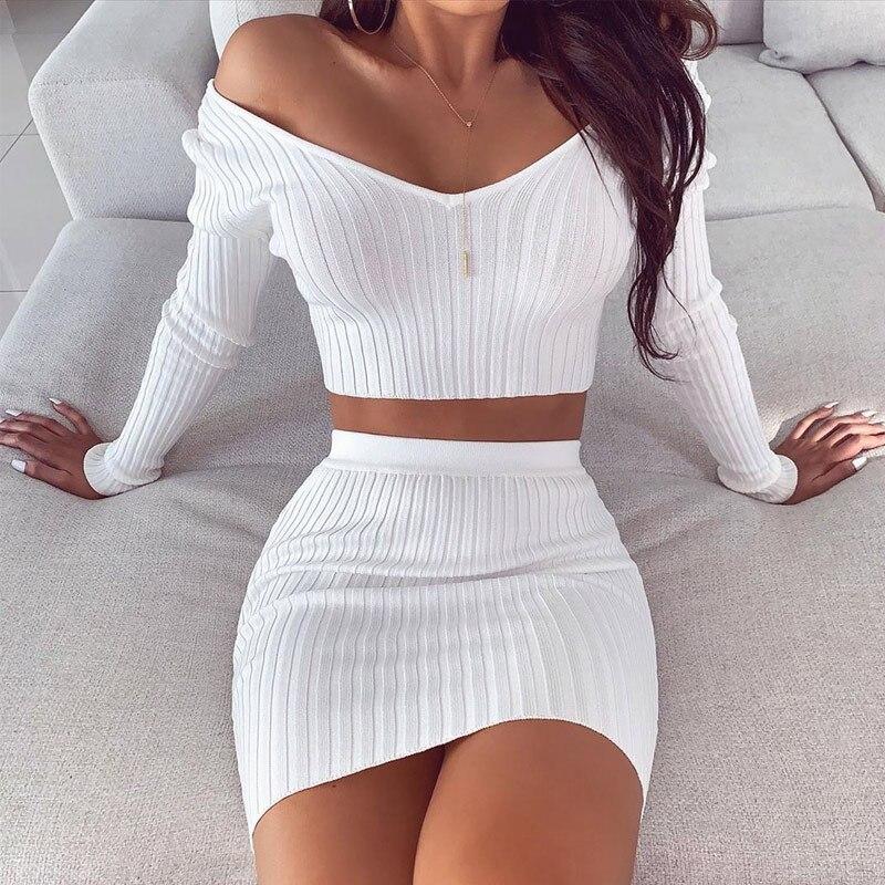 2020 قطعتين مجموعة طويلة الأكمام المحاصيل بلوزات و Bodycon تنورة صغيرة Ruched المرأة مجموعة 2020 الخريف مثير الأبيض نادي الزي حفلة الساخن