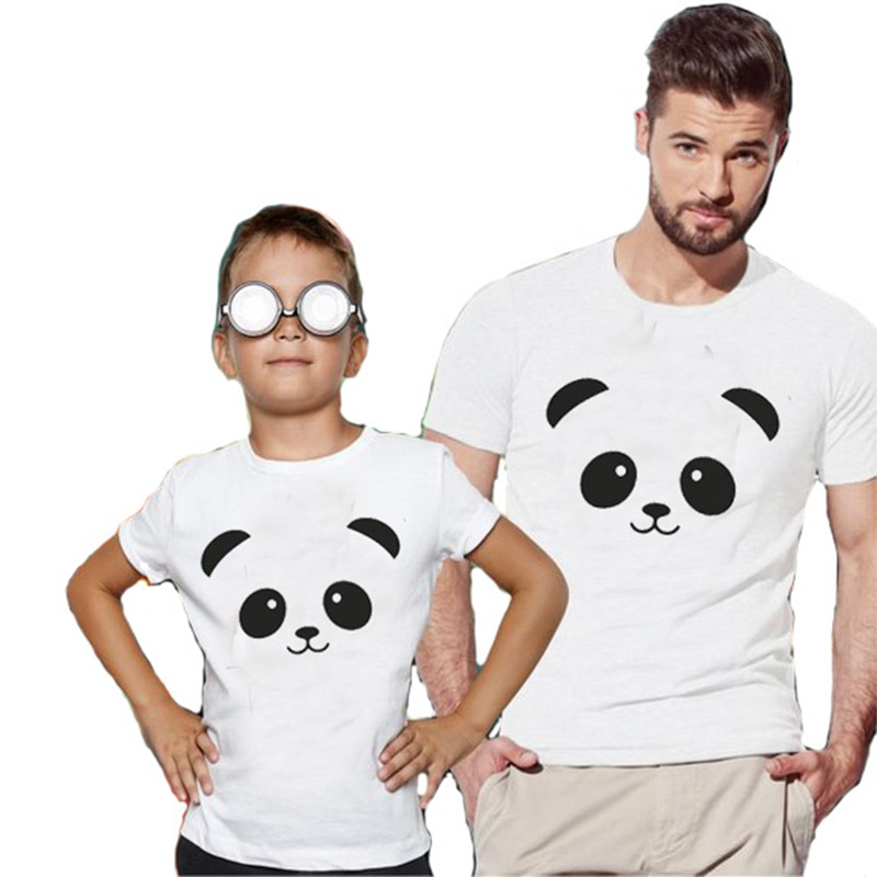Bonito panda cabeça impressão família correspondência camiseta homem de algodão mulher crianças topo t casal tshirt