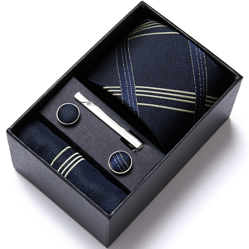 Great Quality Hot sale Luxury 100% Silk Tie Hanky Pocket Squares Cufflink Set Tie Clip Necktie Box Wine Red Father's Day недорого