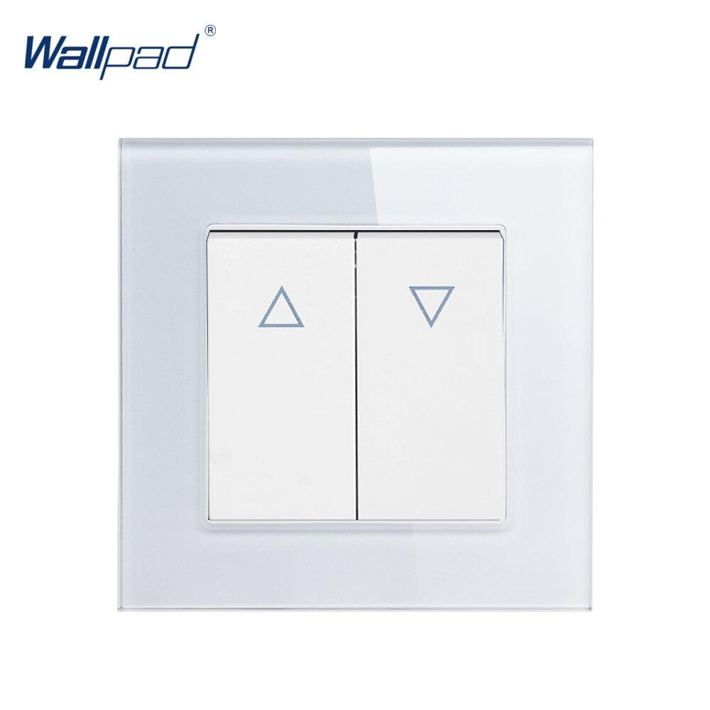 Rideau haut et bas interrupteur Wallpad cristal verre 110V-250V aveugle fenêtre rideau 2 Gang momentané réinitialiser Contact bouton interrupteur