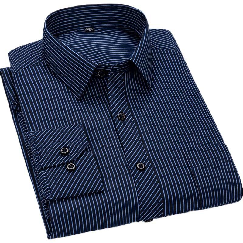 Marca Aoliwen, 2020, camisa Social de manga larga a rayas a cuadros, versión delgada para hombres, camisa informal de moda de negocios para hombres, de talla grande 8XL