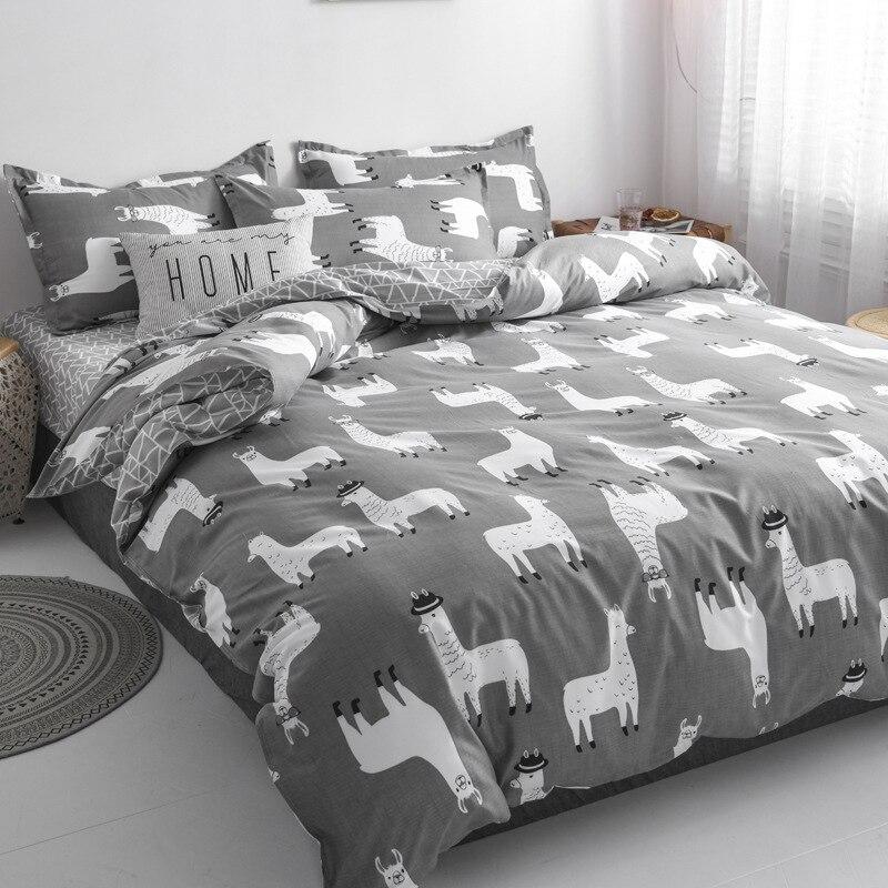 Милый модный Комплект постельного белья с мультяшным рисунком, домашняя хлопковая простыня и наволочки, роскошные комплекты в Корейском ст...