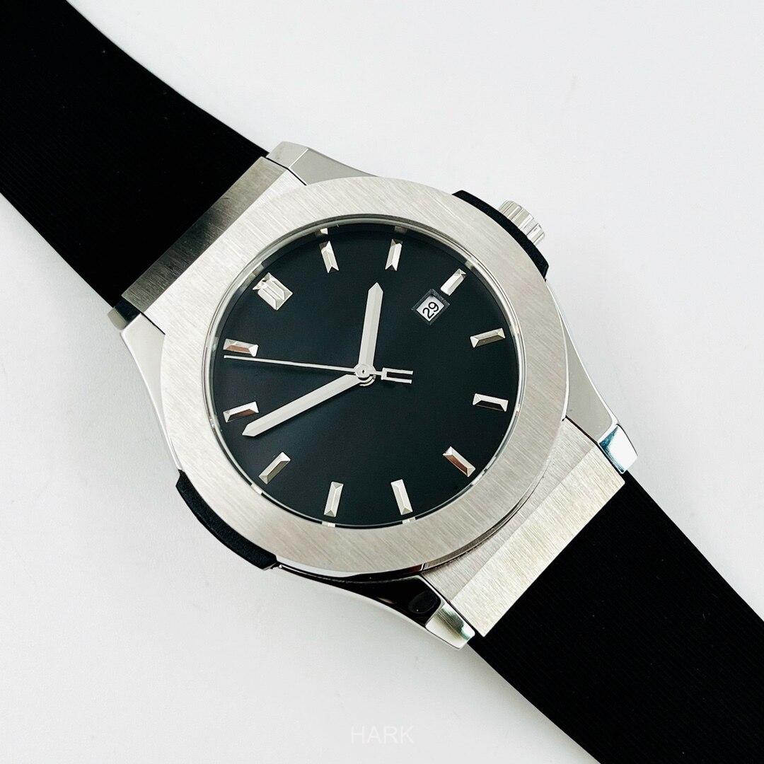 HB الرجال الفاخرة العلامة التجارية التلقائي ساعة ميكانيكية ساعة بحزام مطّاطي 42 مللي متر مقاوم للماء الفولاذ المقاوم للصدأ ساعة اليد
