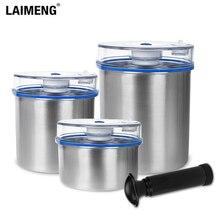 Juego de contenedores de vacío Laimeng para sellado al vacío, envase de almacenamiento de acero inoxidable, contenedor de almacenamiento de 1300ML + 1000ML + 700ML S165