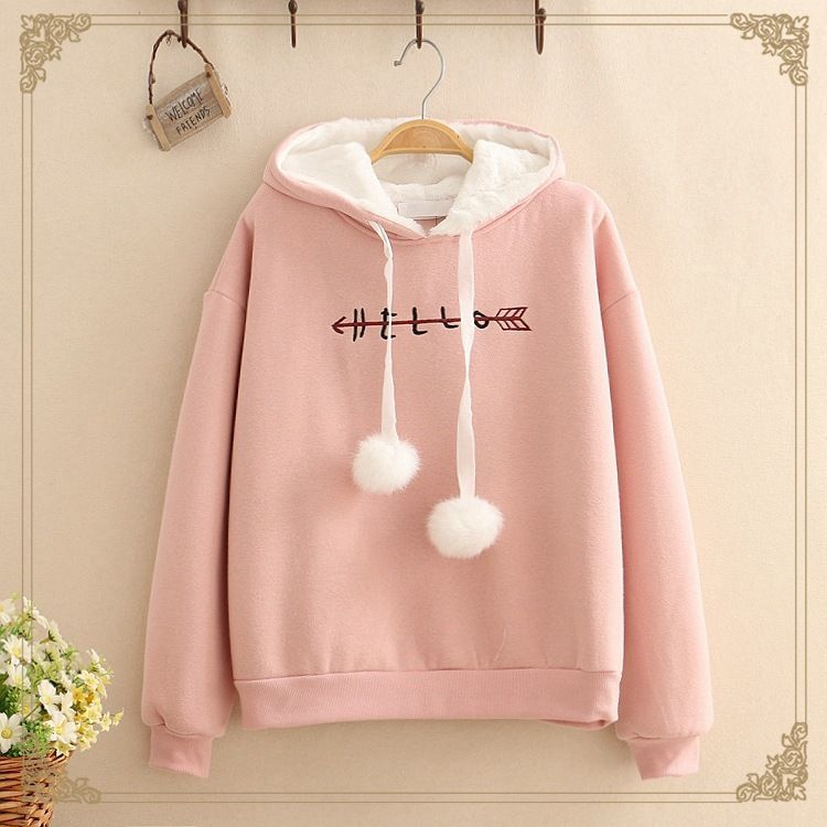 Além de veludo inverno bonito kawaii roupas oversize sweatshrit pullovers plus size hoodies estilo coreano streetwear topos