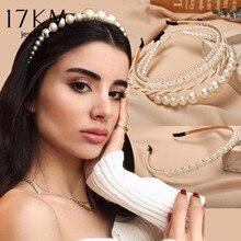 17KM-Diadema de perlas grandes para mujer y niña, diadema para el pelo Vintage para mujer, accesorios para el cabello, tocado de joyería 2020