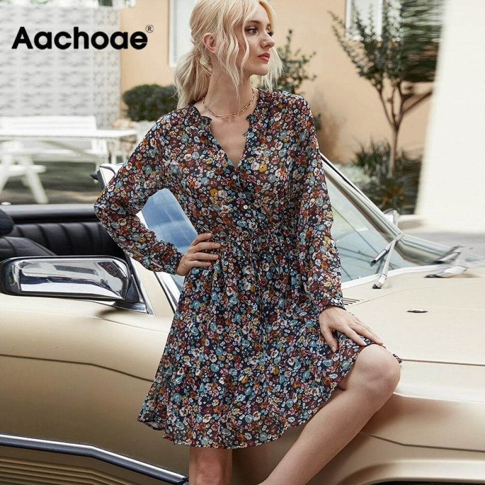 AliExpress - Aachoae Summer Boho Floral Print Dress Women Lantern Long Sleeve Pleated Dresses V Neck Beach Mini Dress Female Roupa Feminina
