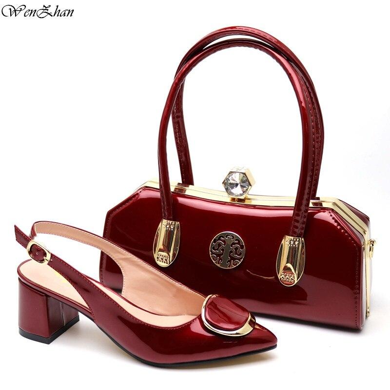 Zapatos de moda de Color vino y conjuntos de bolsos de cuero de PU para damas africanas tacón de 5cm con bolsa de fiesta a juego 38 -43 C97-24