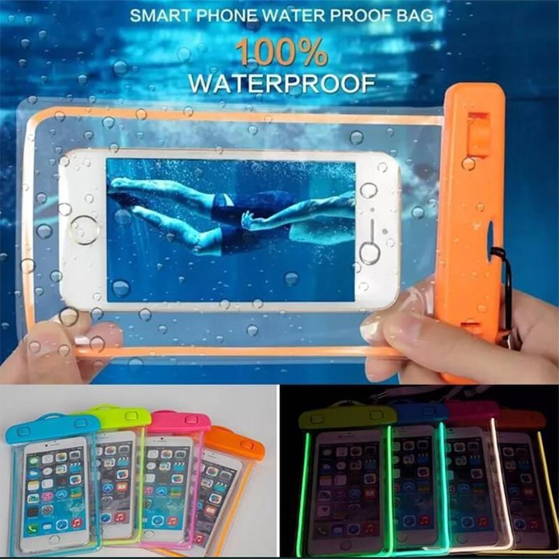 Universal à prova dluminous água caso luminoso para o telefone xmax xr x8 7 6 plus s10 s9 s8 note8 huaweip20 phonecover nadar saco à prova dwaterproof água