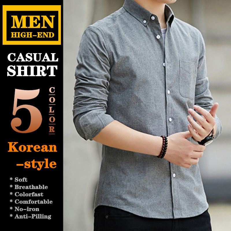 Высококачественные мужские повседневные рубашки из 60% хлопка сохраняющие тепло деловые рубашки в Корейском стиле Большие размеры весна ос...