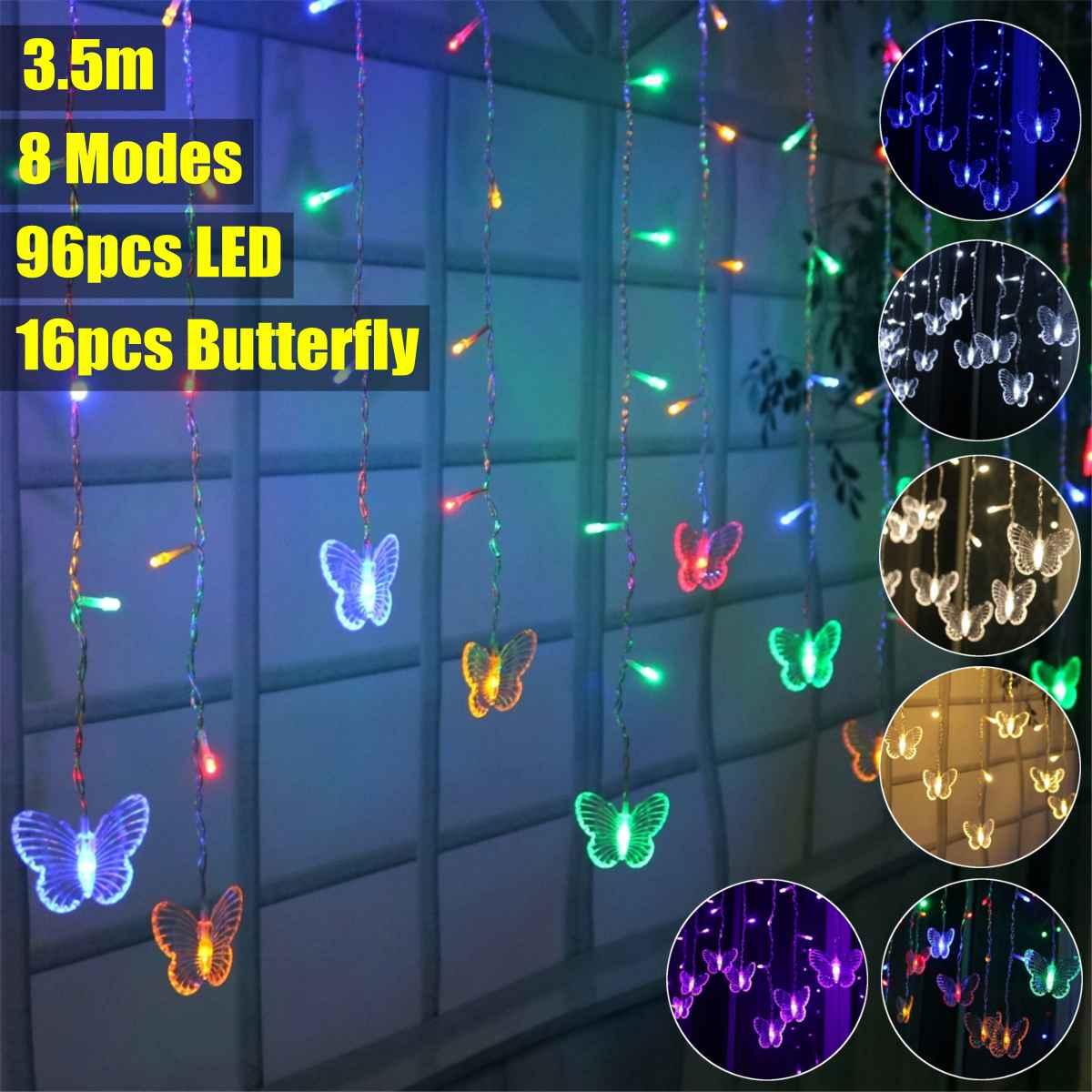 Cortina De Luces LED con forma De mariposa para decoración navideña, guirnaldas...