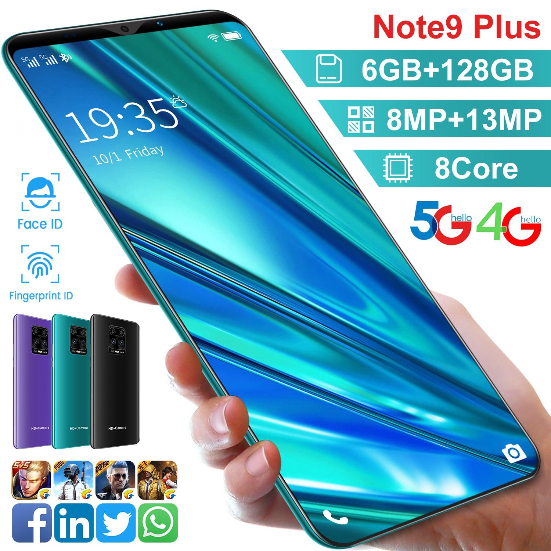 الإصدار العالمي نوت 9 بلس 5.8 بوصة 6 جيجابايت رام 128 جيجابايت روم 8 + 13 ميجابكسل 4800mAh Andriod10 الهواتف الذكية 8 كور MT6763 المزدوج سيم 4G LTE 5G