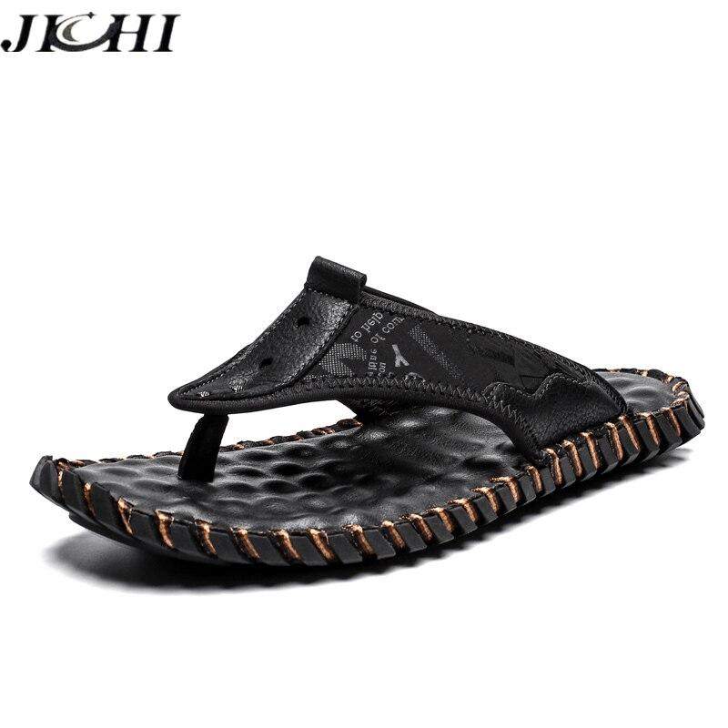 2021 صنادل مماشي للموضة الرجال الصيف تنفس شقة شبشب رجالي أحذية الشاطئ جلد طبيعي رجل الوجه يتخبط الأحذية حجم كبير 48
