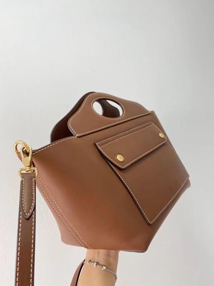 حقيبة جيب الموضة جلد طبيعي المرأة حقيبة \ حقيبة يد بسيطة سيدة حقيبة كتف 100% حقيبة جلدية حقيقية Crossbody جودة عالية