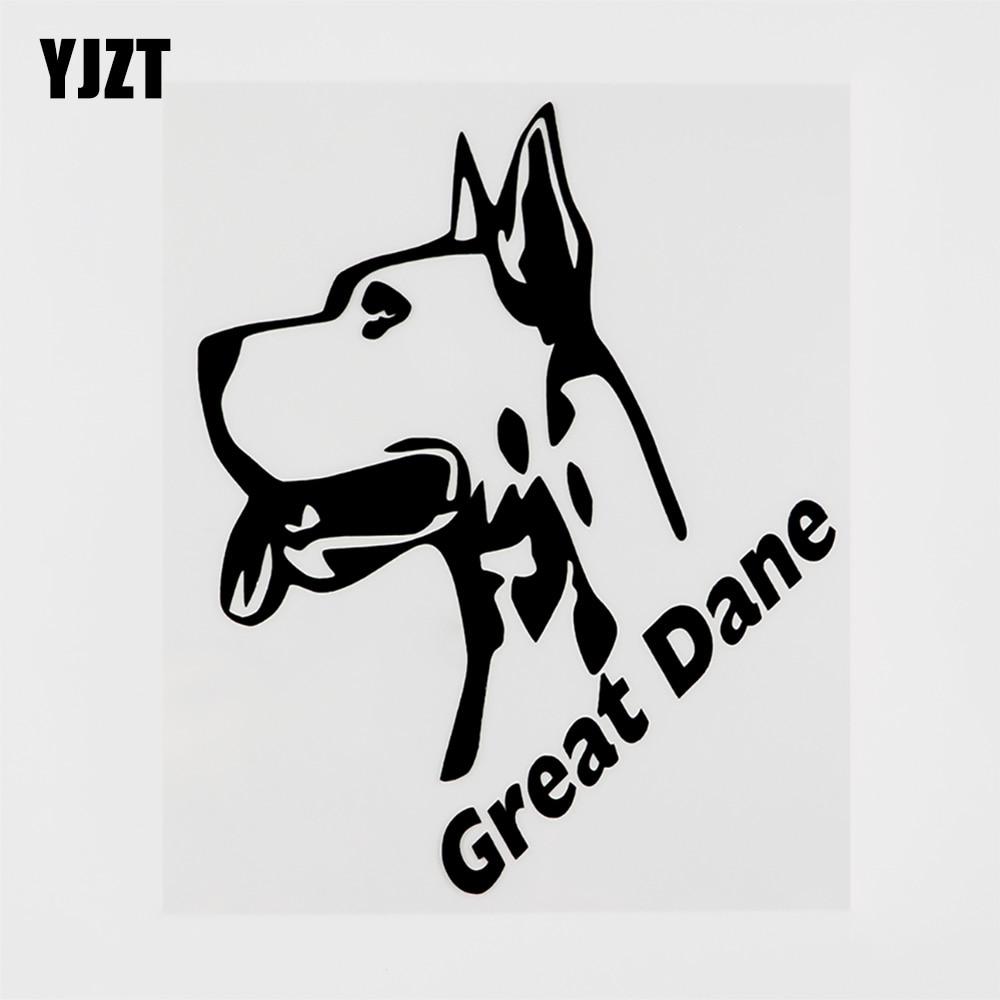 Yjzt 12.3cmx15.3cm moda animal great dane vinil etiqueta do carro decalque preto/prata 8c-0140