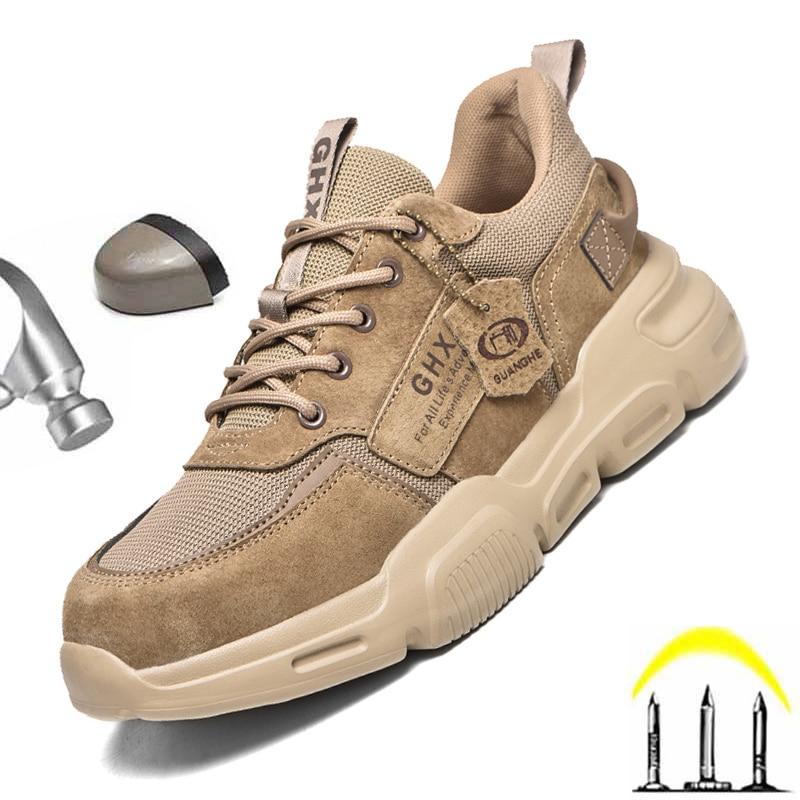 2021 حذاء امن للعمل الصلب اصبع القدم المضادة للثقب غير قابل للتدمير الرجال الأحذية كيفلر نعل جلد الغزال العلوي أحذية رياضية مريحة