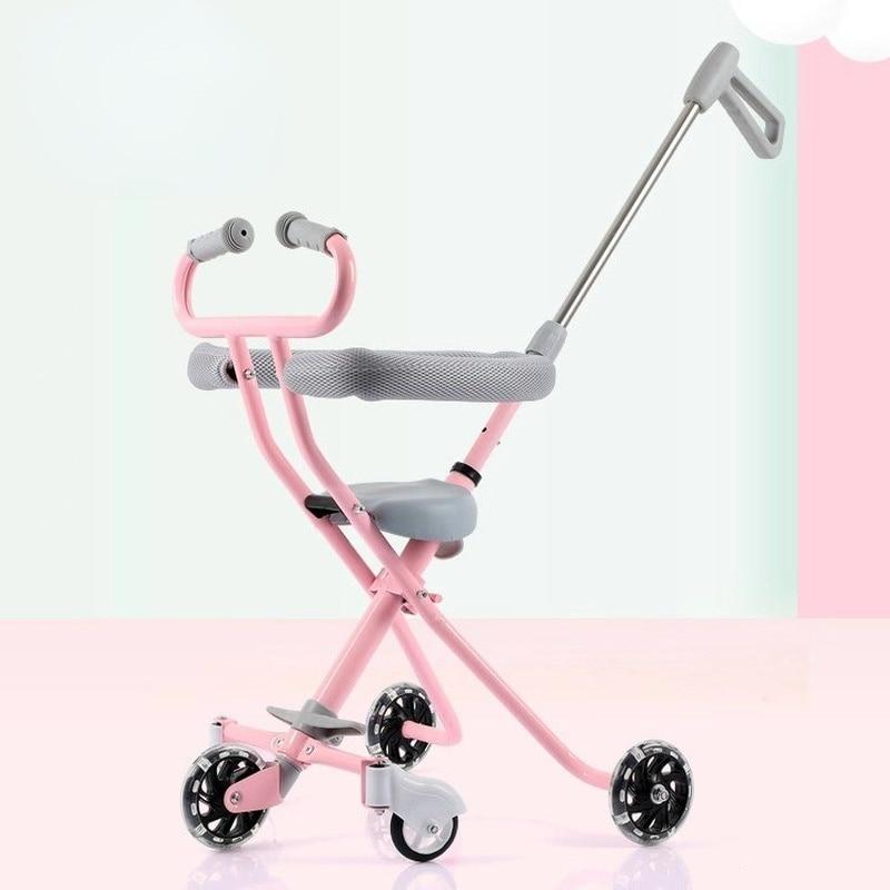 Cuatro ruedas beb artefacto cochecito de beb plegable amortiguador carro 1-3 aos beb Ultra-luz caminando beb artefacto