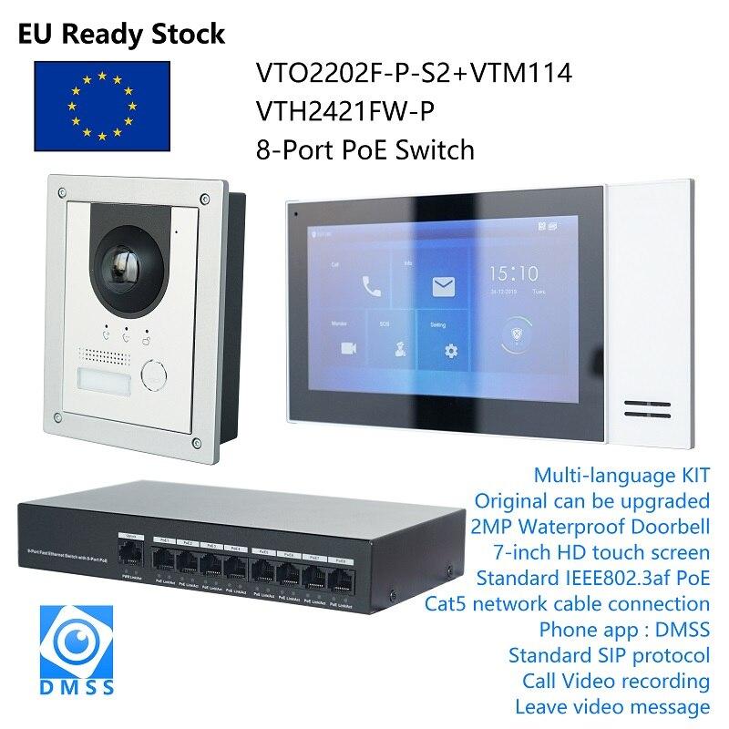 DH عدة اتصال فيديو IP متعدد اللغات ، وتشمل VTO2202F-P-S2 و VTH2421FW-P / VTH2421FB-P و PoE التبديل ، البرامج الثابتة SIP
