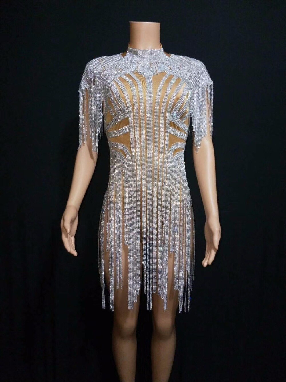 Sexy bling prata strass franjas bodysuit aniversário celebrar traje cantor feminino bling borla collant palco dança wear