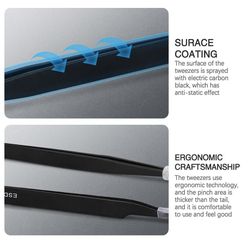 Pinzette curve e dritte pinzette in acciaio inox di precisione - Set di attrezzi - Fotografia 5
