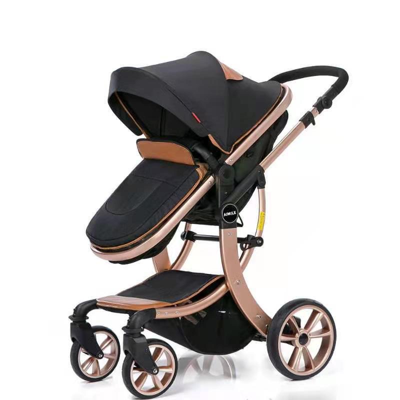 عربة أطفال عالية المناظر الطبيعية سرير مزدوج الاستخدام يمكن الجلوس ، الاستلقاء ، أضعاف قليلا ، اتجاهين الطفل 0-4 سنوات من العمر عربة أطفال خفي...
