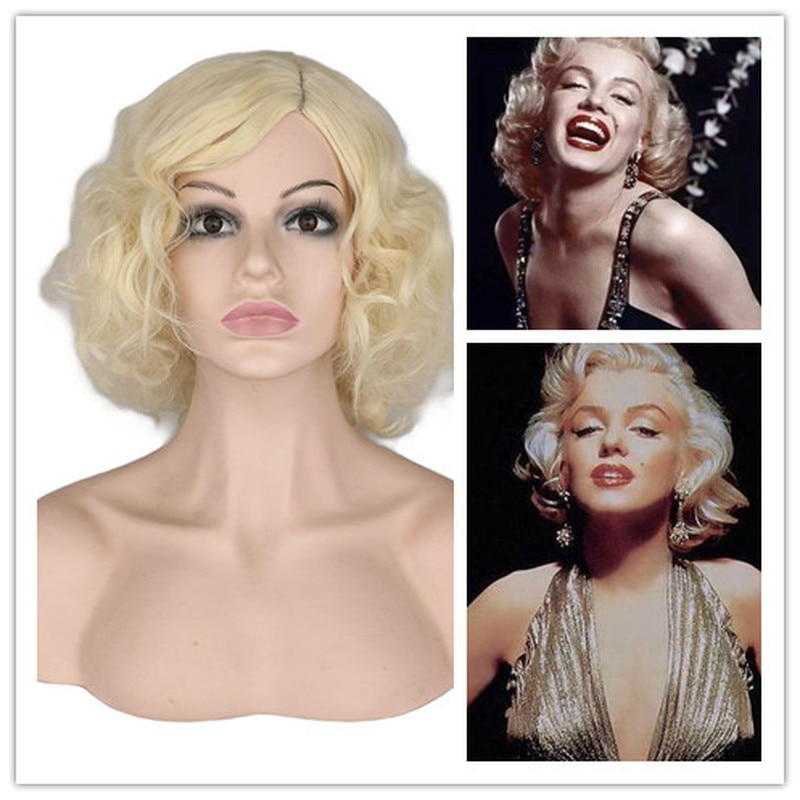 Short Curly Cosplay Wig Costume For Marilyn Monroe Europe America Synthetic Hair Lolita Blonde Wigs Party Perucas Pelucas