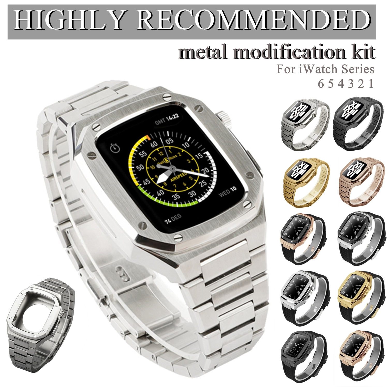Latest Stainless Steel for Apple Watch Band 44mm 40mm Metal Strap for IWatch Series 6 SE 5 4 42mm 38mm Modification Noble Metal