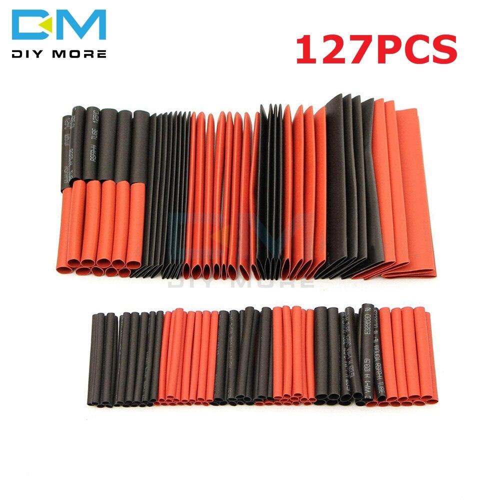 127 шт Красный Черный Полиолефиновый термоусадочный трубопровод кабель трубчатый