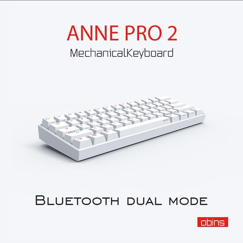 Anne Pro 2 Gateron azul marrón interruptor Mini portátil 60% mecánico RGB teclado inalámbrico Bluetooth para jugador RGB Cable desmontable