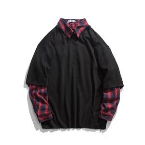 T-Shirt Mens Autumn Hip Hop Stripe Splicing Spring Tops Tee Fake Two Pieces Long Sleeve T Shirt Males Casual Japan Tshirt Boys