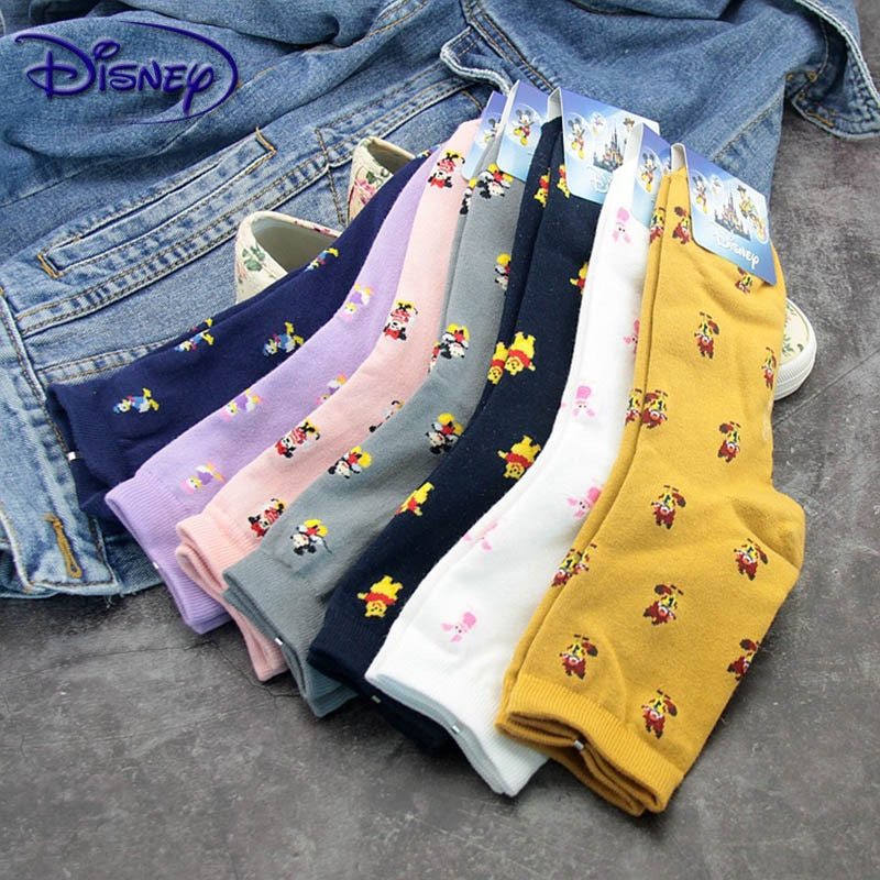 Disney Cartoon Cute Tube Autumn And Winter Warm Sweat Candy Cotton Ladies Socks Cartoon Fashion Minnie Mickey Socks