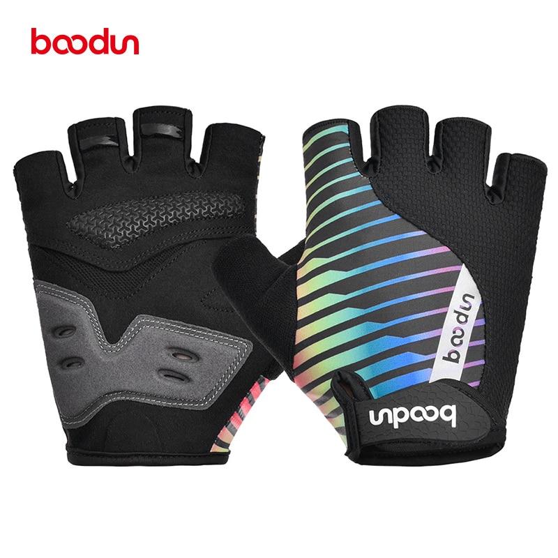 Boodun Breathable Cycling Gloves Half Finger Fitness Men Women Shock Absorption Bike Non-slip Bicycle