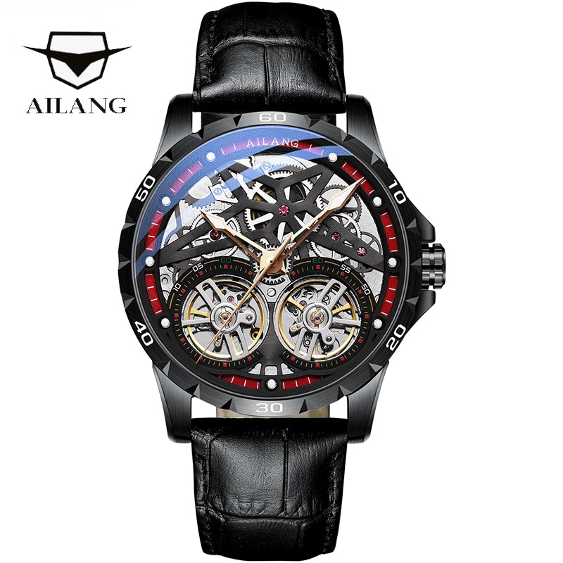 AILANG Original Men's Watch Double Tourbillon Dial Automatic Hollow-out Machine Watch Men Luminous Waterproof 5Bar New Design