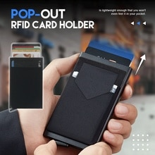 Pop-out RFID Card Holder Slim Aluminum Wallet Elasticity Back Pouch ID Credit Card Holder Blocking Protect Travel ID Cardholder