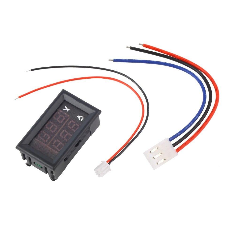 Voltímetro Digital de 100 V CC y 10A, amperímetro, azul + rojo, LED, medidor de voltaje Digital, amperios, corriente de doble voltaje para uso doméstico