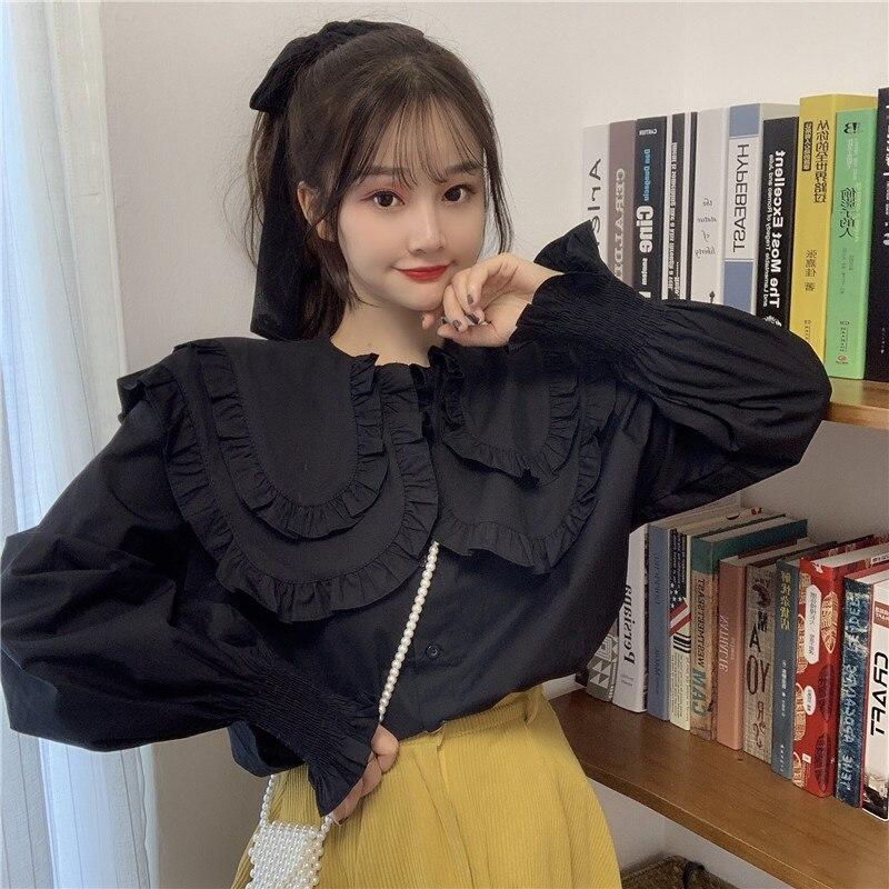 Camisa KYQIAO sweet lolita Chicas mori Otoño Invierno de talla grande kawaii cuello de manga larga blusa Lisa Blanca Negra
