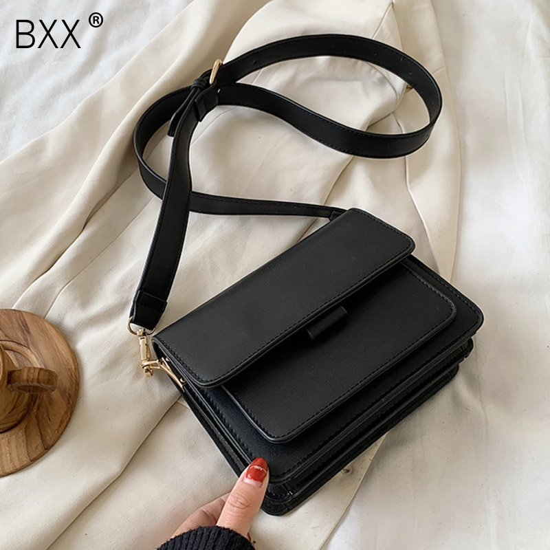 [BXX] Simply Shoulder Crossbody Bags For Women 2021 Spring Fashion PU Leather Handbags Female Luxury Lady Travel Bags HL618