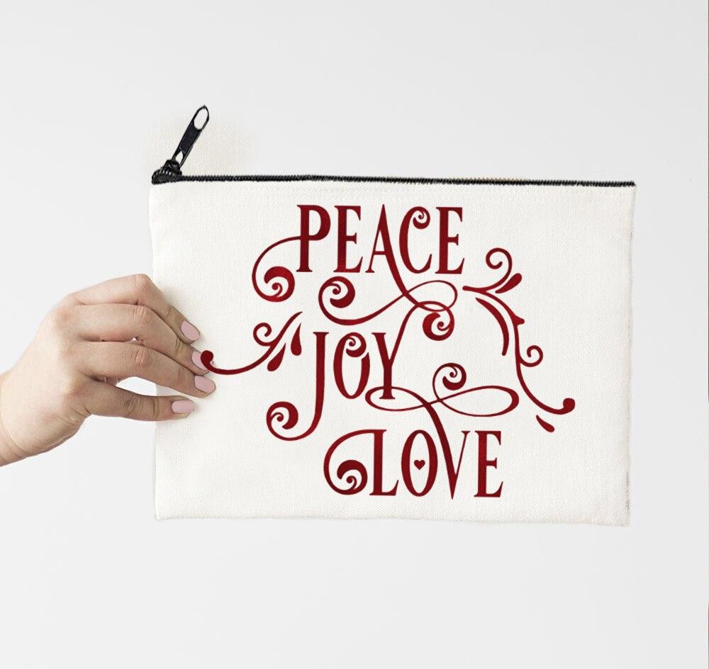 Счастливого Рождества 2021 мир радость любовь Макияж сумка путешествия размер Макияж милая сумка пользовательский Рождество День Макияж Чех...