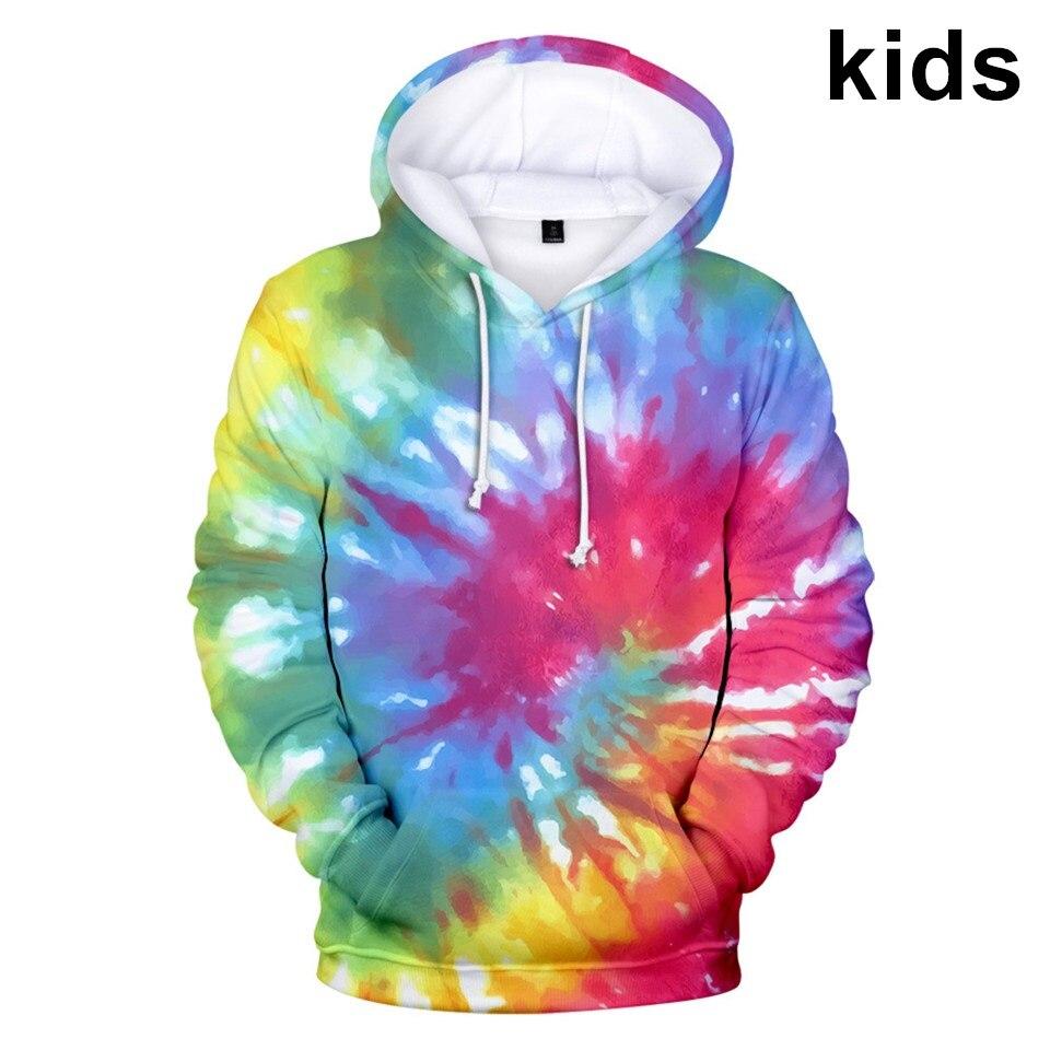 3 To 14 kids hoodies 3D Tie Dye Flashbacks hoodie sweatshirt boys girls Colorful Psychedelic Jacket coat children clothes