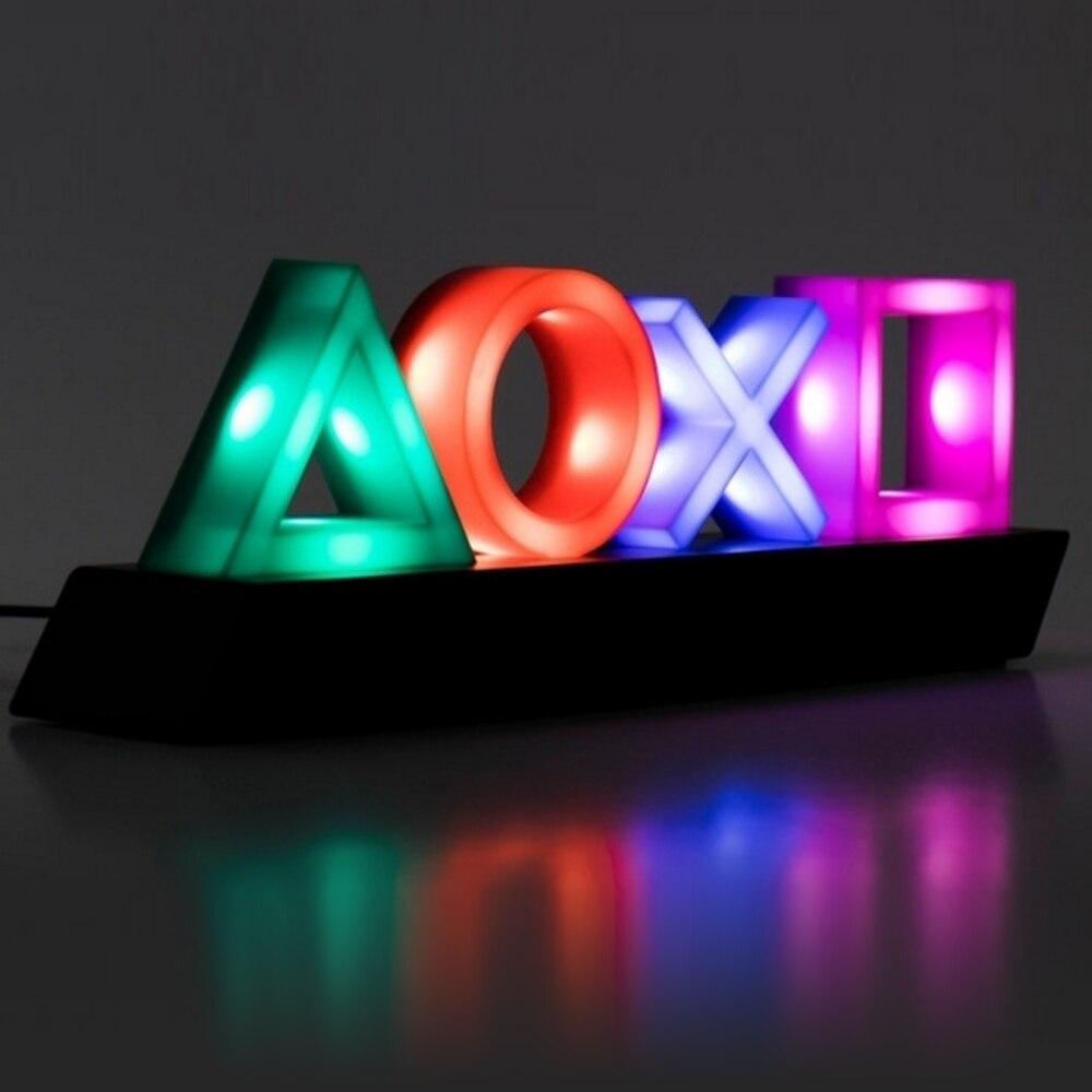 اللعب الرموز ضوء PS4 التحكم الصوتي لعبة أيقونة ضوء الاكريليك جو النيون بار جو لامبارا ضوء