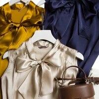 heavy satin shirt womens spring new style v neck tie solid color top loose goummi silk ribbon sleeveless shirt t shirt