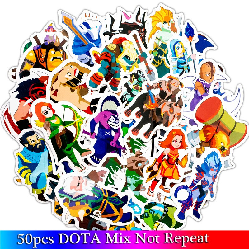 50 unids/lote de dibujos animados divertidos Dota calcomanías de juego para Moto y maleta Cool Laptop pegatinas de grafiti Skateboard pegatinas para niños