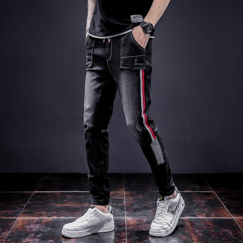 2021 Модные мужские джинсовые брюки, Стрейчевые темно-синие облегающие джинсы для мужчин, повседневные облегающие джинсовые брюки, мужские д...