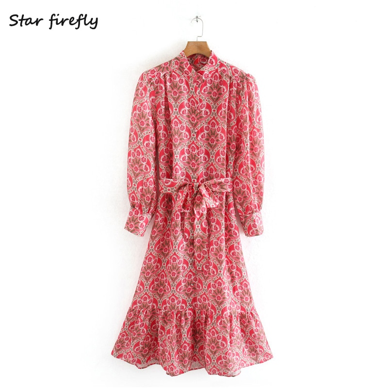 Star firefly fashionable Za dress female 2020 spring new elegant sweet lapel with belt casual printed midi dress women
