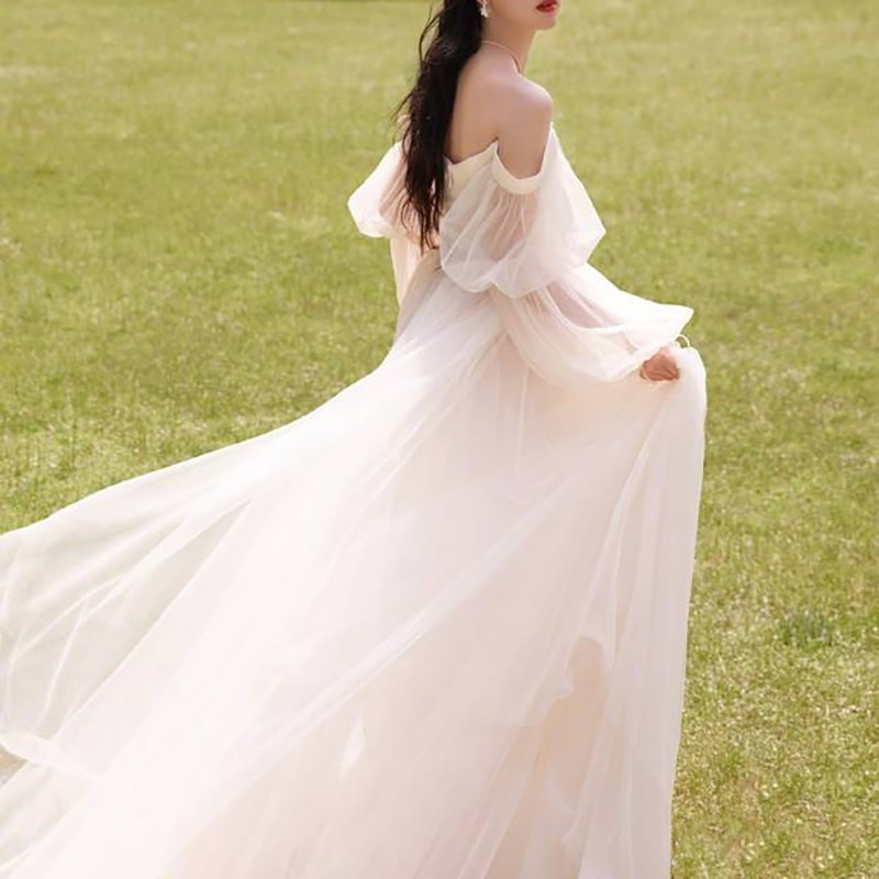 Review Drop Long Lantern Sleeves Off Shoulder Tulle Wedding Dress Plus Size Zipper Boning Custom Made Long Train Princess Bridal Gown