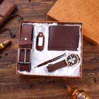 brown leather 5pesset mens gift set beautifully packaged watch belt wallet keychain pen casual combination boy friend watches