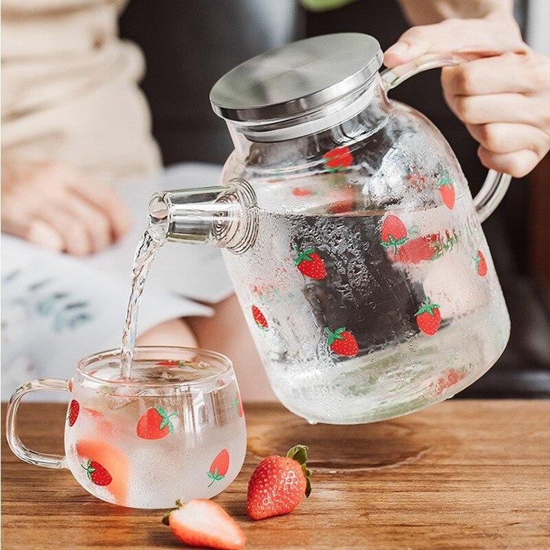 الإبداعية الفراولة الزجاج براد مياه سعة كبيرة زجاجة المياه انفجار برهان كوب ماء القهوة القدح فنجان شاي للمنزل مكتب