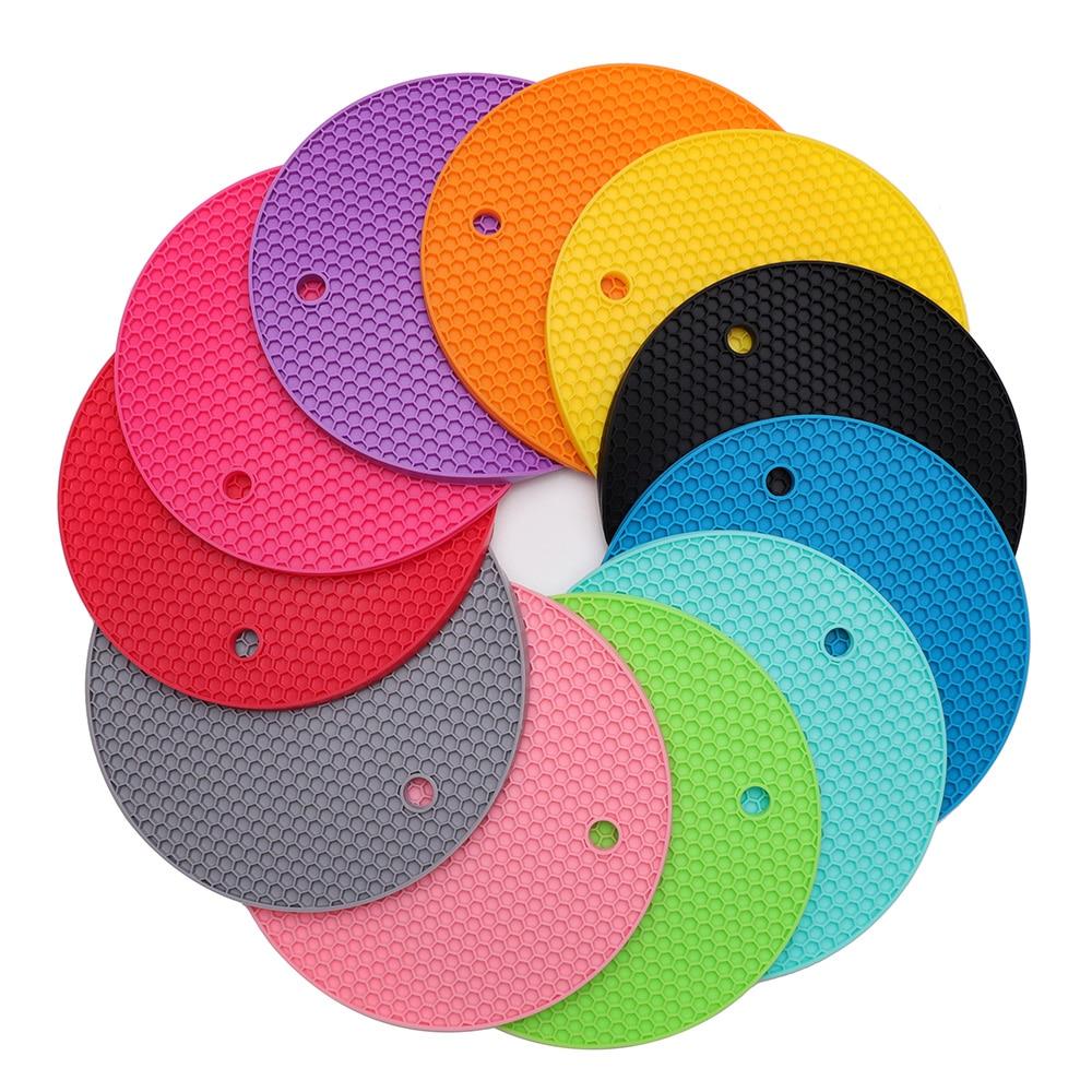 Soportes de ollas de silicona, soportes de ollas redondos multiusos, remaches, abridores de jarras y soportes de cuchara-Extra gruesos