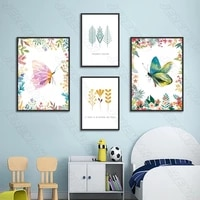 butterfly green landscape poster nordic style waterproof ink painting print painting modern living room bedroom decoration