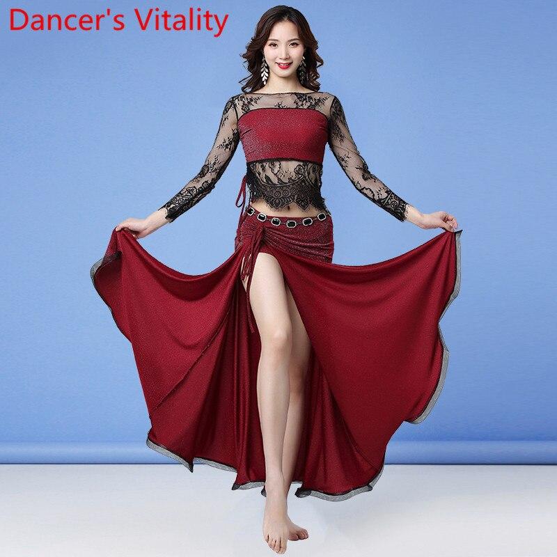 Ropa de práctica de danza del vientre de las mujeres del invierno empalme la parte superior cordón largo falda Set Oriental indio baile entrenamiento trajes